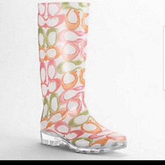 Coach Multi Color Pixy Rainboots